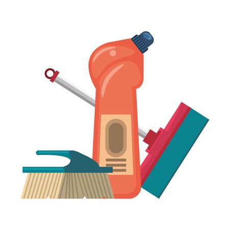 Cleaning equipment and products soap bottle with mop and brush vector illustration graphic design.
