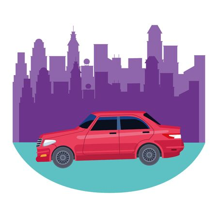 car transport sedan vehicle roading urban city cartoon vector illustration graphic design