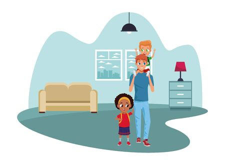 Family single father with kids holding school backpack inside home living room with furniture vector illustration graphic design  イラスト・ベクター素材