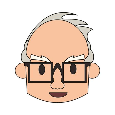grandparent senior old retirement grandfather face wearing glasses cartoon vector illustration graphic design