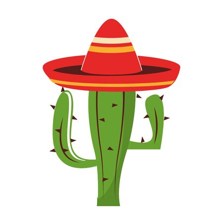 mexico culture and foods cartoons mariachi hat on cactus vector illustration graphic design