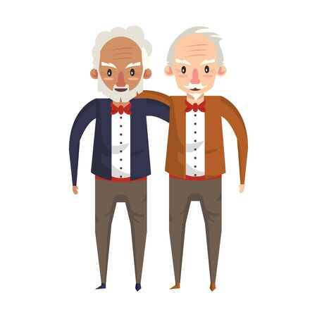 grandparents seniors old retirement grandfathers friends cartoon vector illustration graphic design