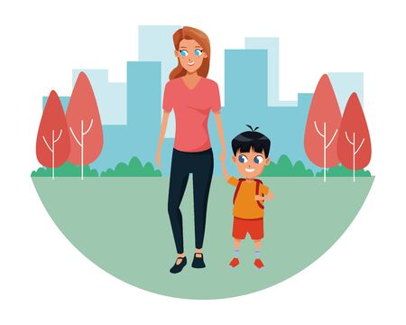 Family single mother with kid son holding school backpack in the city park scenery ,vector illustration. Çizim