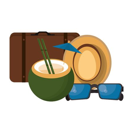 Travel vacations and summer suitcase sunglasses hat and coconut cocktail cartoons vector illustration