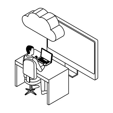technology businessman with connectivity gadgets digital and laptop monitor screen symbol vector illustration graphic design