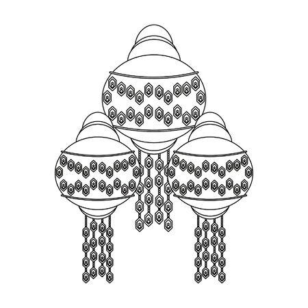 india paper lights lanterns isolated cartoon vector illustration graphic design