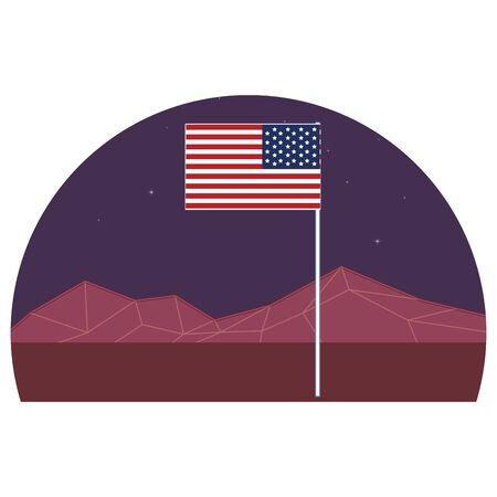 united states flag icon cartoon with retro futuristic mountain landscape icon cartoon vector illustration graphic design
