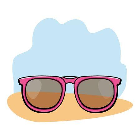 Fashion sunglasses accesory cartoon on blue and orange grunge background vector illustration graphic design