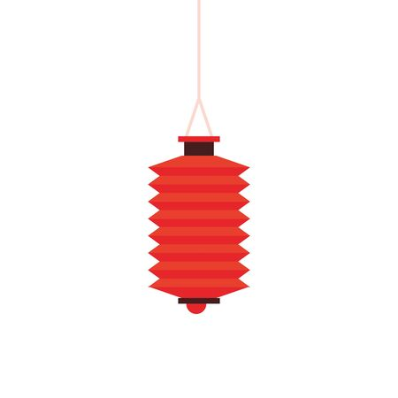 oriental chinese lantern lamp red light decoration cartoon vector illustration graphic design
