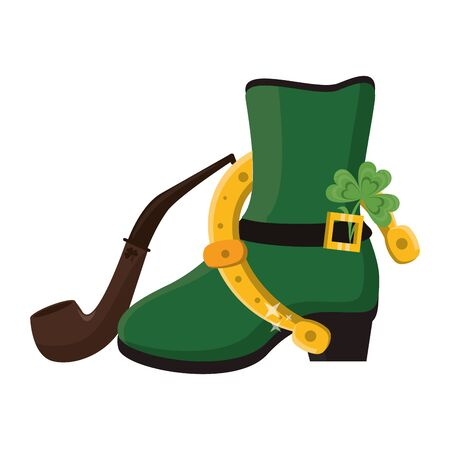 saint patricks day irish tradition green leprechaun boot with horsehoe and clover with tobacco pipe cartoon vector illustration graphic design 写真素材 - 129992571