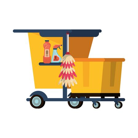 Cleaning equipment and products in cart with cobweb brush and soaps vector illustration graphic design.