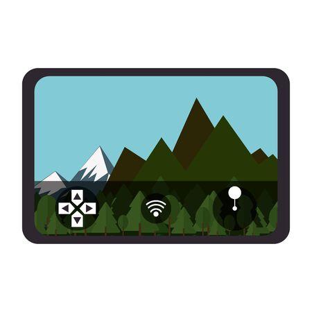 air drone remote control technology device with air landscape view cartoon vector illustration graphic design Illusztráció