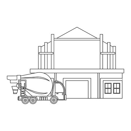 construction architectural engineering work, heavy concrete mixer truck in front house under construction cartoon vector illustration graphic design