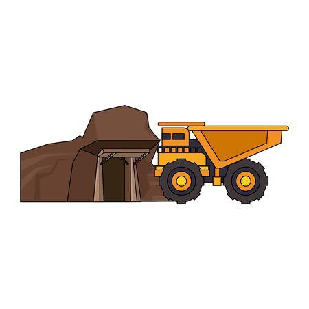 mining cargo truck vehicle and mine cartoon vector illustration graphic design Ilustrace