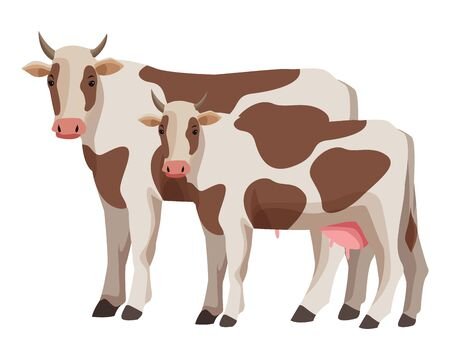 farm, animals and farmer two cow icon cartoon vector illustration graphic design