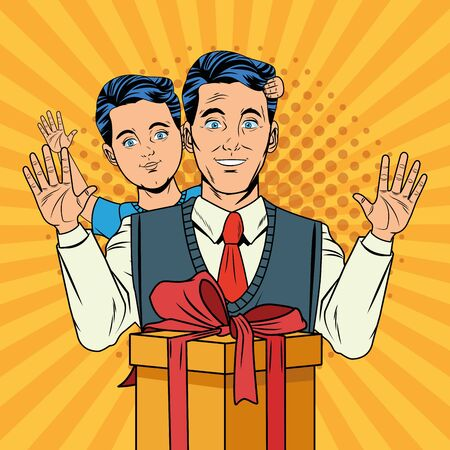 Pop art father and son with gift box cartoon over yellow striped background vector illustration graphic design
