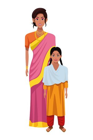indian family woman with sari and jewelry young girl with sari profile picture avatar cartoon character portrait vector illustration graphic design