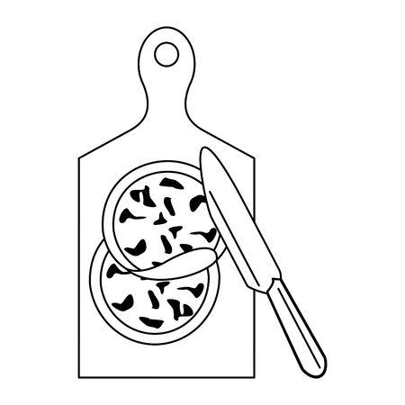 Barbecue food on table with knife vector illustration graphic design Ilustração