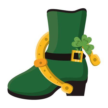 saint patricks day irish tradition green leprechaun boot with horsehoe and clover cartoon vector illustration graphic design Ilustrace