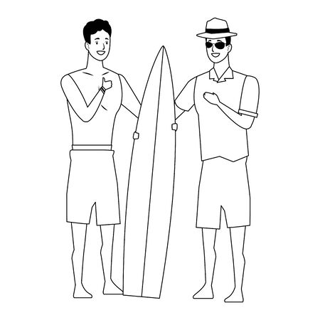 Young men friends enjoying summer with swimsuit with surf table vector illustration graphic design