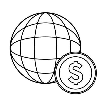 globe world sphere with money coin icon cartoon in black and white vector illustration graphic design Иллюстрация