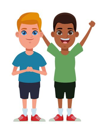 two children afroamerican boy with hands up and blonde boy profile picture cartoon character portrait vector illustration graphic design