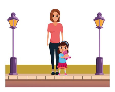 Family single mother with daughter cartoon on the street urban scenery ,vector illustration graphic design.