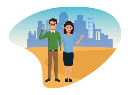 Young executive man and woman couple smiling and greeting cartoon in the city urban scenery vector illustration graphic design. Illustration