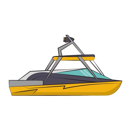 Sport boat side view isolated cartoon vector illustration graphic design