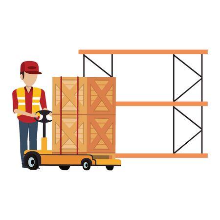 Warehouse worker pushing boxes on handtruck to shelf vector illustration Illusztráció