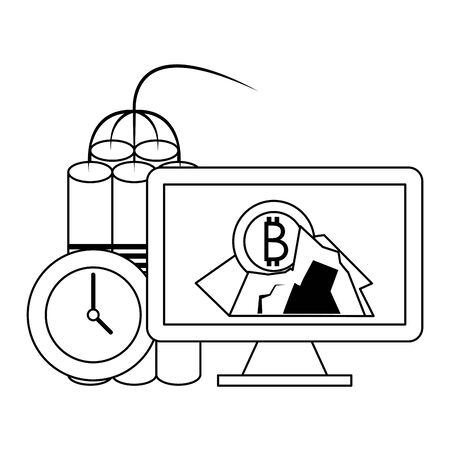Bitcoin cryptocurrency mining with computer and tnt symbols vector illustration graphic design