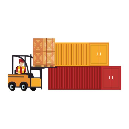 Warehouse worker driving forklift with boxes passing by containers vector illustration Çizim