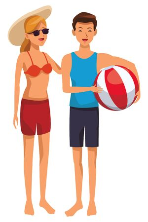 Young couple in summer with beach ball isolated Stock Illustratie