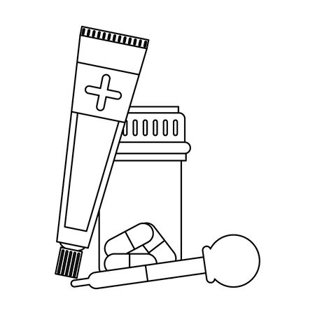 Medical equipment and supplies ointment pills and dropper vector illustration graphic design.