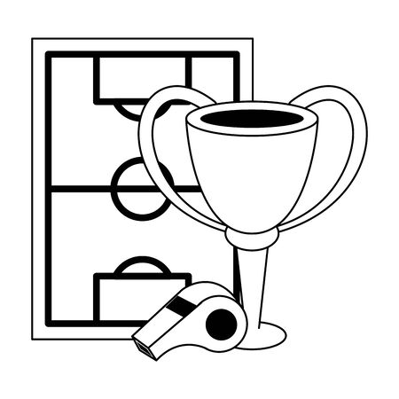 Soccer trophy cup tournament with whislte and playfield vector illustration graphic design