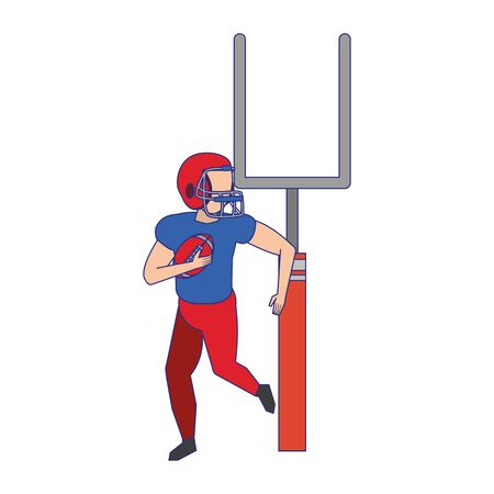 american football sport game goal post with player training with ball cartoon vector illustration graphic design