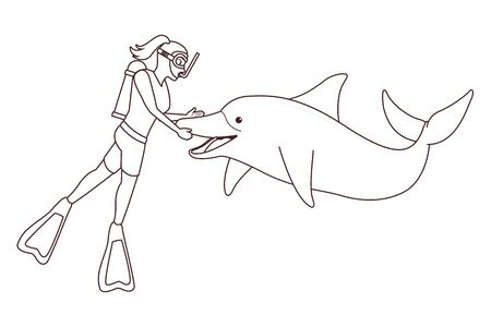 scuba diver avatar woman diving with happy dolphin in black and white vector illustration graphic design