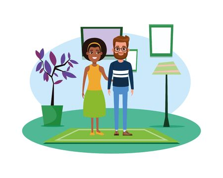 couple avatar man with beard and glasses and afroamerican woman wearing bandana profile picture cartoon character portrait indoor over a carpet with floor lamp, plant pot and frame on the wall vector