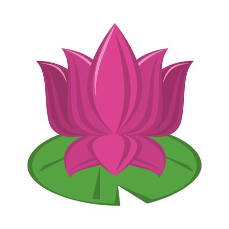 Lotus flower on leaf cartoon isolated vector illustration graphic design