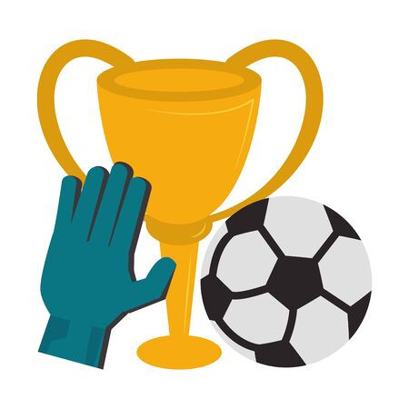 Soccer trophy cup tournament with goalkeeper glove and ball vector illustration graphic design