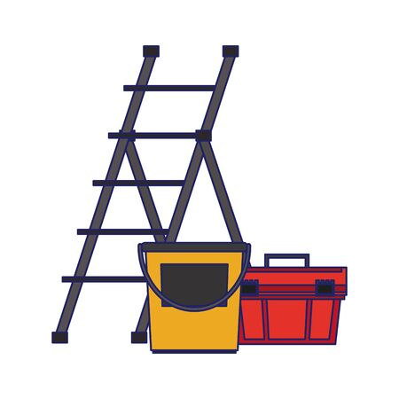 Construction tools ladle and paint bucket with toolbox vector illustration graphic design