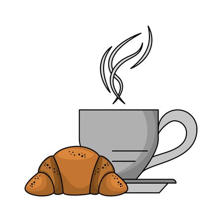 Breakfast morning food coffee mug and croissant cartoons vector illustration graphic design Illustration