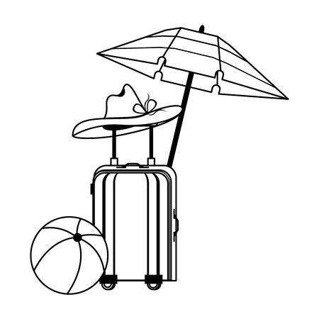 Summer luggage umbrella hat and beach ball cartoons vector illustration graphic design