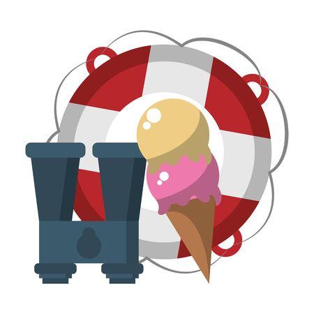 Summer float ice cream and binoculars cartoons vector illustration graphic design