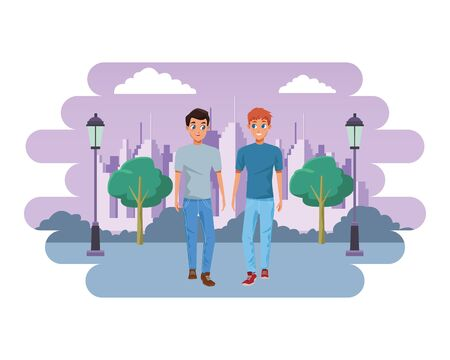 Young male couple smiling and walking cartoon in the city park with cityscape background vector illustration graphic design