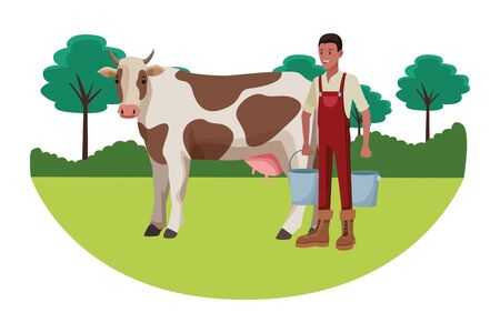 farm, animals and farmer afro american man with pails and cow avatar cartoon character over the grass with trees and shrubbery vector illustration graphic design