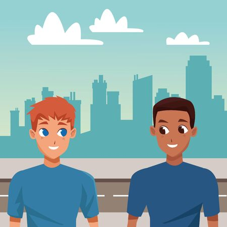 Young male couple smiling and walking cartoon in the city urban background ,vector illustration.