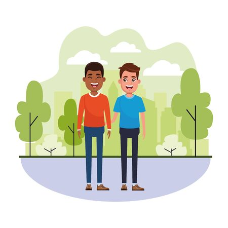 avatar men avatar afro american man smiling and young man smiling profile picture cartoon character portrait outdoor colorful Illustration