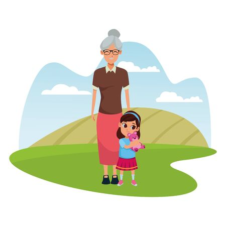Family grandmother taking care of granddaughter with teddy in nature park outdoors scenery background ,vector illustration graphic design.