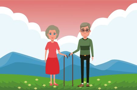 elderly people avatar old woman with cane and old man with glasses and cane profile picture cartoon character portrait